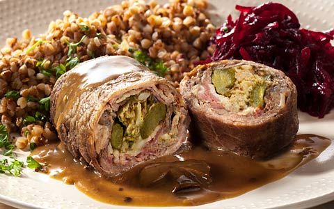Beef Caesar rolls with buckwheat and beetroot
